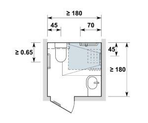 Espace sanitaire / Nasszelle 1.80x1.80 m, variante 2