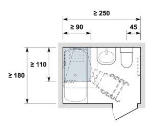 Nasszelle anpassbar /espace sanitaire adaptable