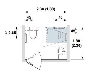 Espace sanitaire / Nasszelle 2.30x1.80 m