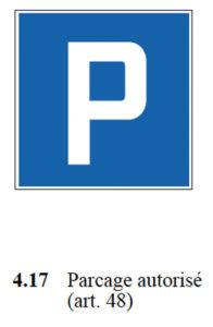 signal parcage autorisé selon osr 741.21